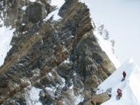 Posledné metre hrebeňa a vrchol Annapurny.
