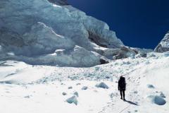 Lavínisko v závere ľadopádu Khumbu.